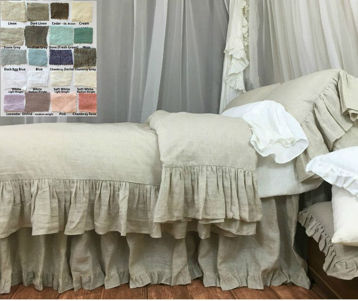This mermaid long ruffle duvet cover sets a shabby chic tone in master and guest suites. Framed with long ruffle like mermaid tail, with over 40 color/patterns to choose from, this handmade duvet cover creates a sumptuous feminine retreat in natural linen color.  http://www.superiorcustomlinens.com/linen-duvet-cover-with-mermaid-long-ruffle-pick-your-color/