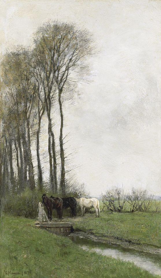 Anton Mauve - Paarden bij het hek