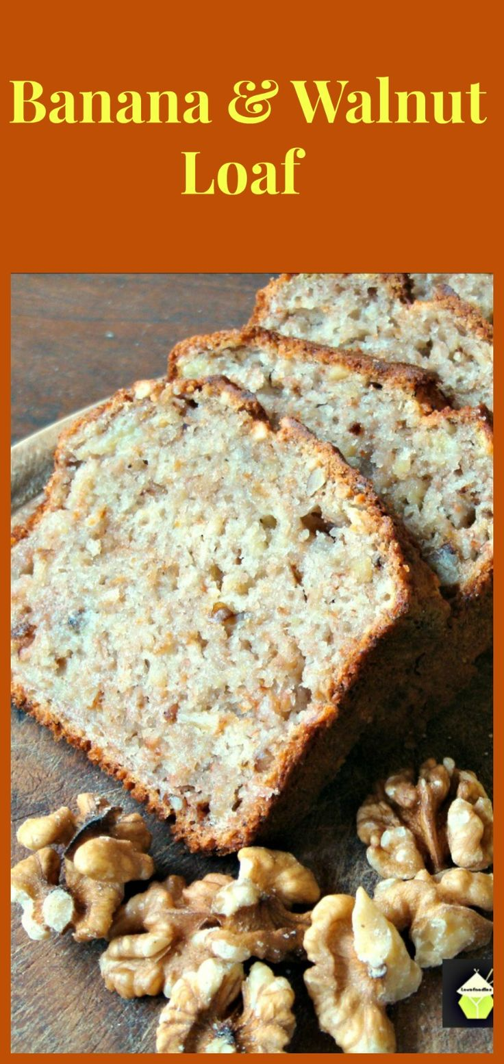 Banana and Walnut Loaf Cake. A delicious, very easy and moist cake, and smells so good when it's baking too!