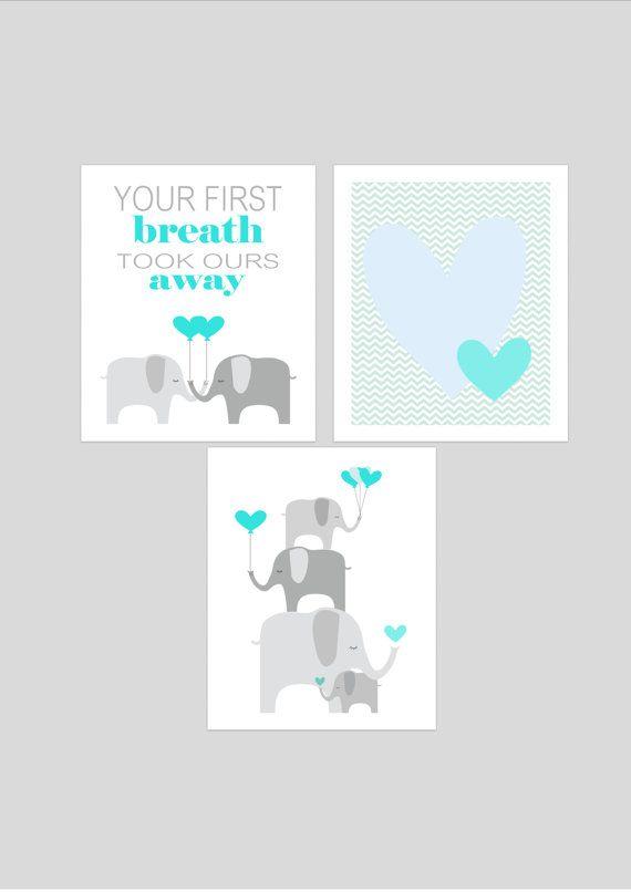 Elephants printable nursery art set, instant download, elephant nursery art, grey and aqua nursery decor, elephants nursery decor