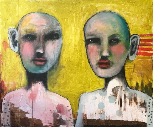 """""""To Gode Naboer"""", 120x100 cm painting by Kari Anne Marstein. Purenkel Galleri, Oslo. Kunst i Oslo. Gallery in Oslo."""