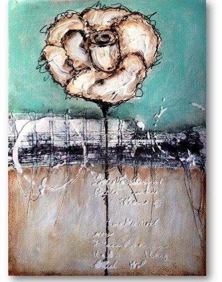 mixed media rose painting