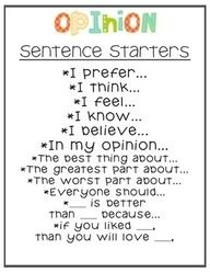 When introducing how to write an opinion piece students should have these as examples. 4.W.1 Writing opinion pieces on topics. This is a creative and helpful way to help students start writing pieces. Some students have difficulties starting a writing piece where these sentence starters will help students to start brainstorming.