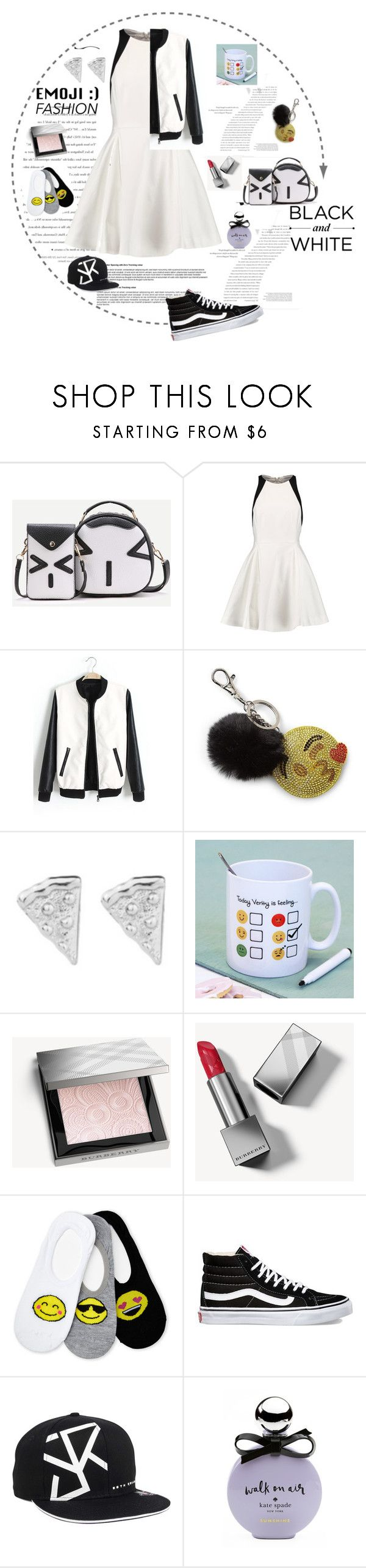 """Black and white Emoji"" by archsan ❤ liked on Polyvore featuring Balenciaga, WithChic, Halston Heritage, Bari Lynn, Rock 'N Rose, Burberry, Capelli New York, Vans, WWE and Kate Spade"
