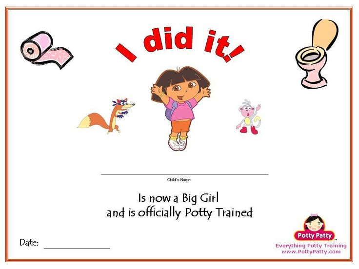 Potty training reward chart for girls. Certificate for successfully learning to use the potty.