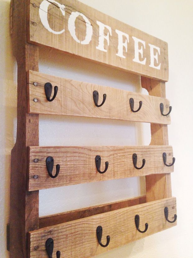 DIY Coffee Cup Holder- Emilie, cute for all your mugs.  You could put whatever on top, wouldn't have to be COFFEE.