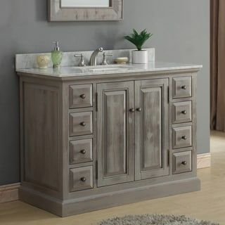 Photo Gallery In Website Shop for Infurniture Rustic style inch Single Sink Bathroom Vanity with Carrera White