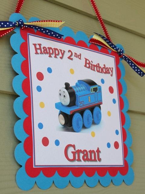 Thomas The Train Happy Birthday Door Sign in Blue by SoCuteParties $12.00 & 58 best