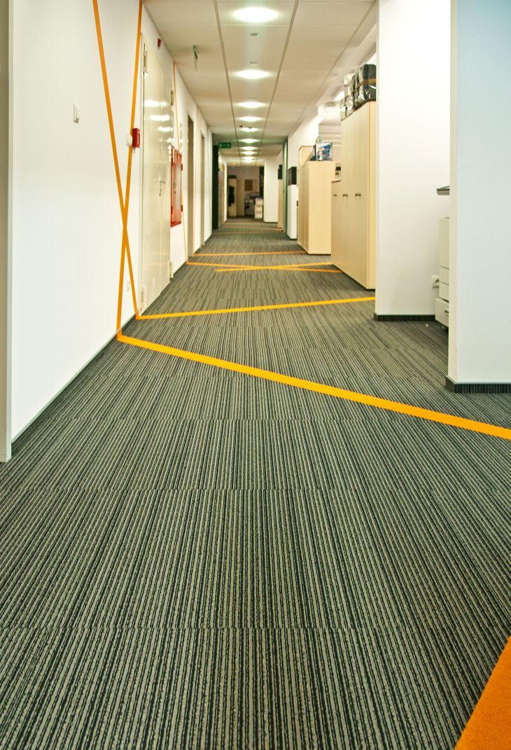 zig zag corridor, carpet tiles form Shaw Contract Group