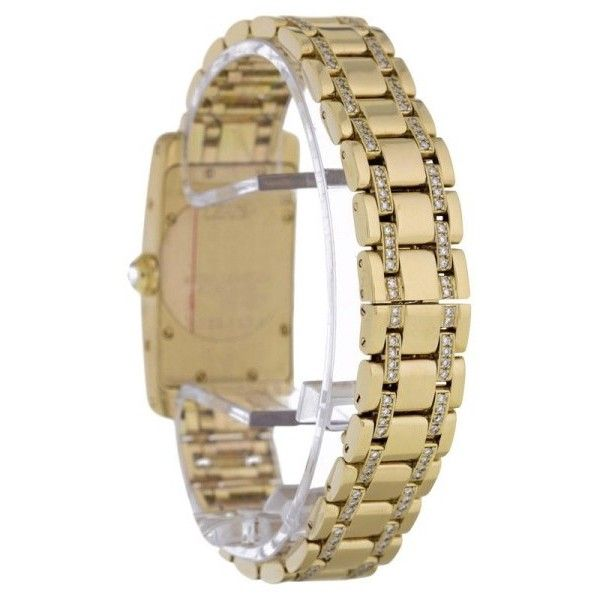 Pre-owned Cartier Tank Americaine 1710 18K Yellow Gold Diamond Bezel... ($18,625) ❤ liked on Polyvore featuring jewelry, watches, cartier watches, diamond bezel watches, gold jewellery, dial watches and pre owned watches