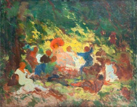 Langer Karel (1878–1947)   Veselá společnost   Aukce obrazů, starožitností   Aukční dům Sýpka