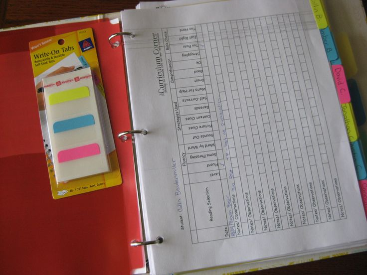 Reading management binder to track student progress