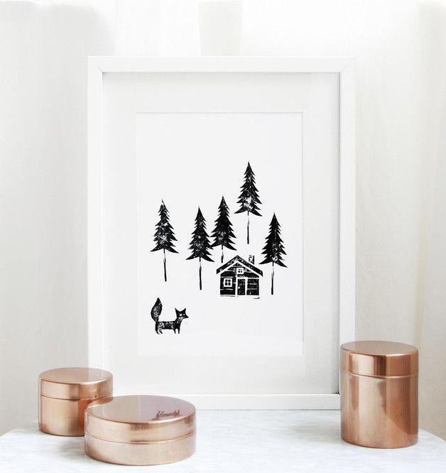 Linoldruck mit Waldmotiv als Deko fürs Zuhause, Einweihungsgeschenk / home decor: linocut print made by  WeDoCutPrint via DaWanda.com