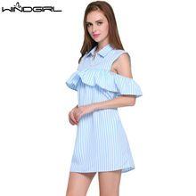 WINDGIRL женские летние dress синий полосатый короткие прямые dress short sleeve fashion повседневные платья коктейль пляж Vestidos(China (Mainland))