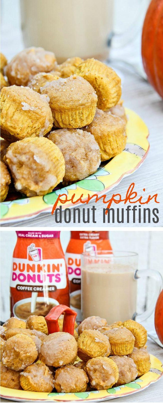 Mini pumpkin muffins and pumpkin flavored coffee are the perfect way to entertain guests this fall #DunkinCreamers #ad