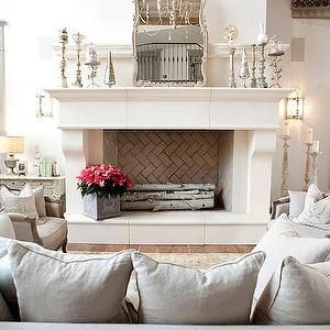Decor de Provence - living rooms - fireplace mirror, fireplace candle holders, how to style a fireplace, huge fireplace, oversized fireplace,