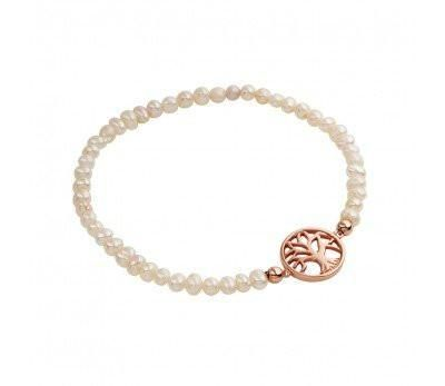 Diedre Rose Gold and Freshwater Pearl Stretch Bracelet