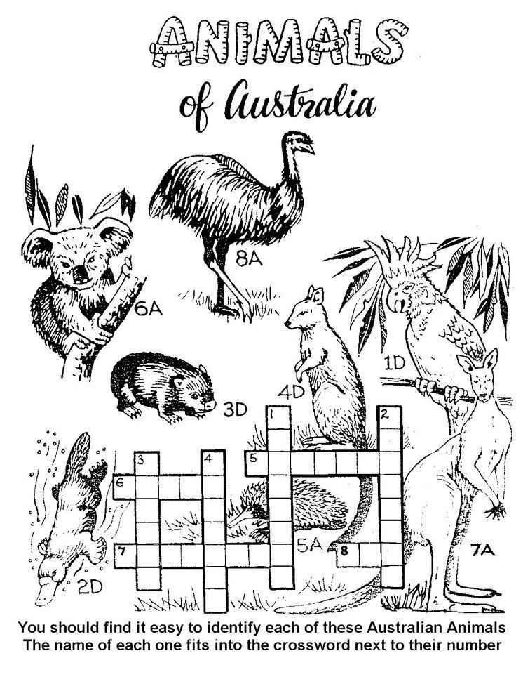 Aust Animal Crossword 1087x1439 Pixels