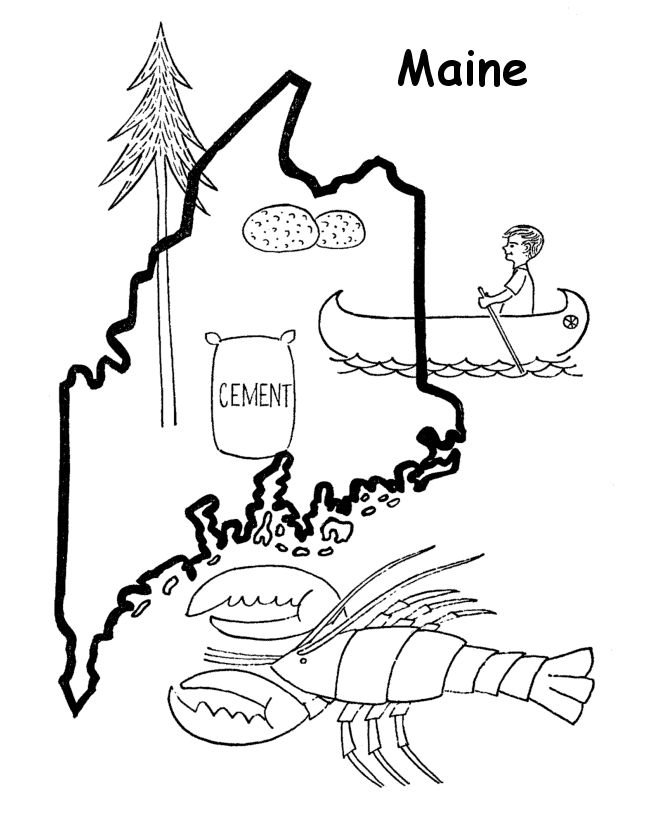 Maine State outline Coloring Page | Coloring Pages - US ...