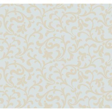 CX1331 - Candice Olson Dimensional Surfaces Sand Printed Scrolling Leaf Wallpaper - Sand/Pearl Spa Blue Metallic