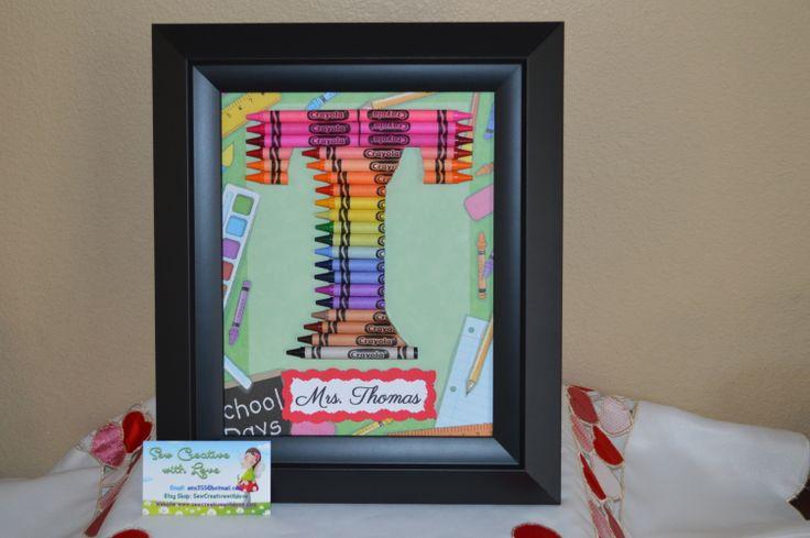 Teacher Gift Personalized Letter Rainbow Crayon Art