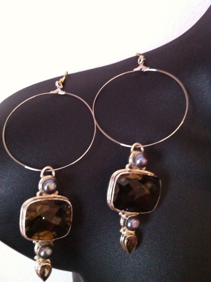 Brown glass earrings