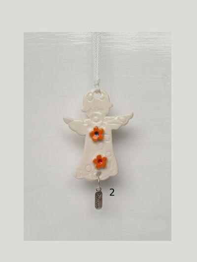 Ceramic Angel orangeflowers believe charm by DelabudCreations