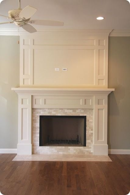 Great idea to expand above existing mantel. All we need to add is the  interior - 25+ Best Ideas About White Fireplace Mantels On Pinterest White