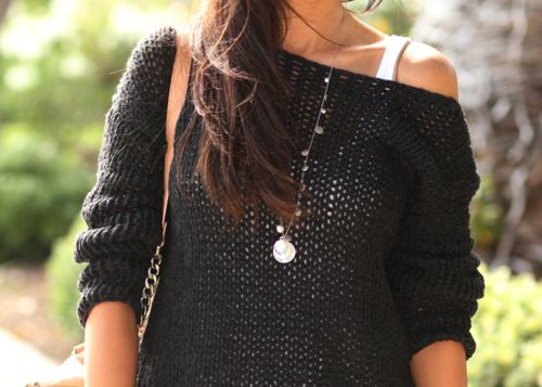 sheer off the shoulder sweaterShoulder Sweaters, Fashion, Style, Clothing, Over Sweaters, Cozy Sweaters, Black Sweaters, Knits Sweaters, Dreams Closets