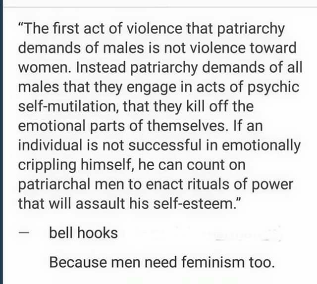 "Feminism because I never want my son to feel he isn't ""man"" enough if he shows emotion."