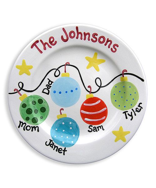 Serve up holiday goodies on this charming hand-painted plate. Kiln-fired in the USA, it's a keepsake that's sure to spark smiles for years to come. Personalize family name up to 15 charactersPersonalize five names up to 5 characters each10'' diameterCeramic