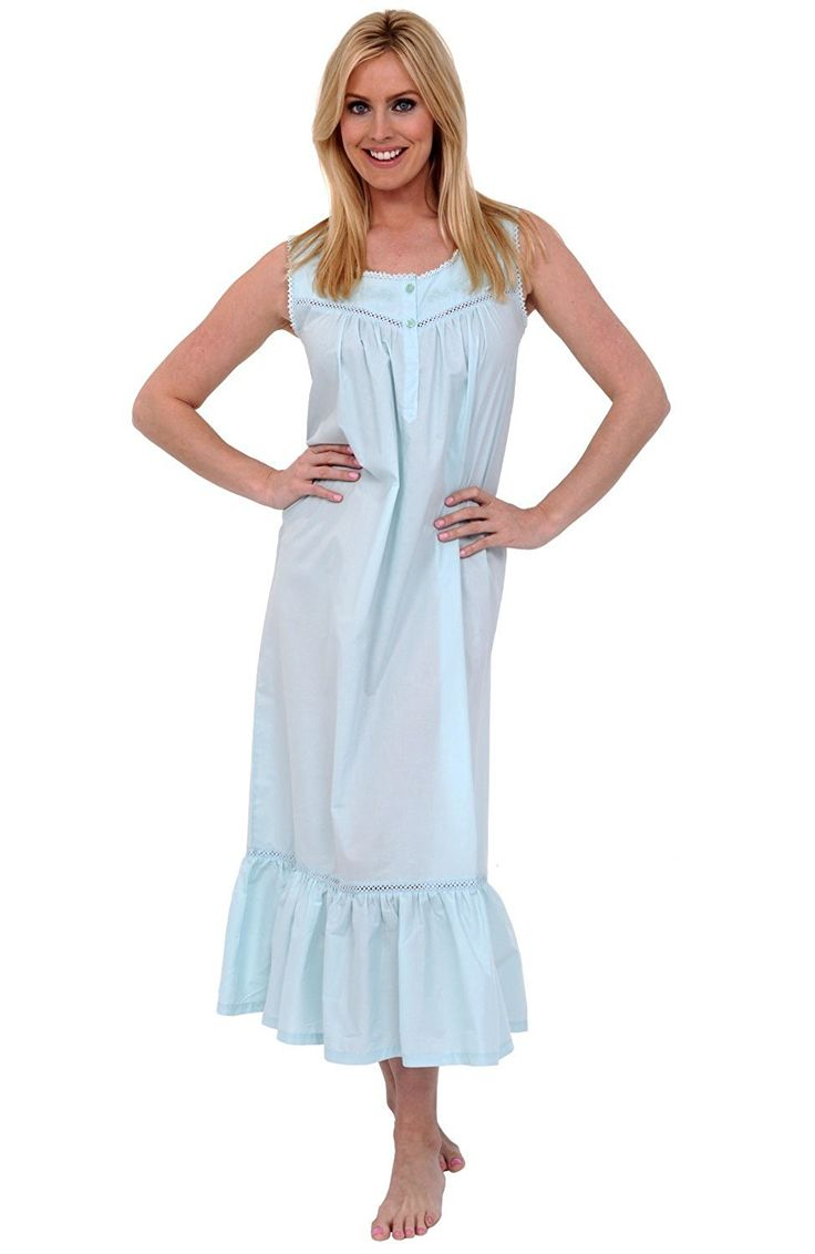 Del Rossa Women's Patricia Cotton Nightgown, Long Victorian Sleeveless Sleepwear *** Click on the image for additional details.