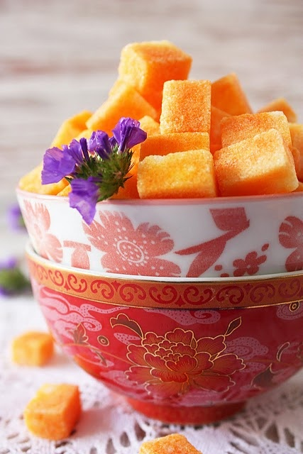 Saffron infused sugar cubes for your tea.