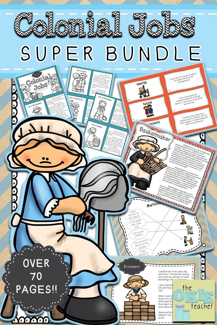 Colonial Jobs Super Bundle Over 70 pages of Colonial Jobs information, notebooking, task cards and more!