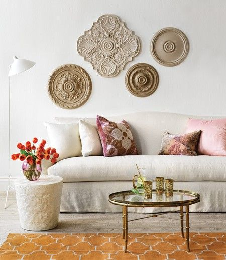 Simple Wall Art | Photo Gallery: Budget Living Room Decorating Tips | House & Home  Ceiling medallions