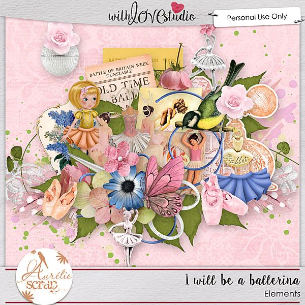 """Kit """"I Will Be A Ballerina"""" by Aurélie Scrap. Don't give up, believe in your dreams. And this kit is for all these precious little girls who dream to be the best ballerina in the world... It contains : 20 papers & 74 elements"""