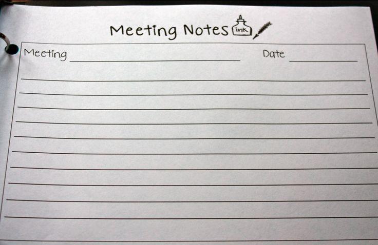 Ladybug's Teacher Files: Teacher Binder-MEETING NOTES PRINTABLE