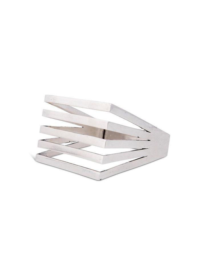 Sterling Silver Geometric Square Bangle
