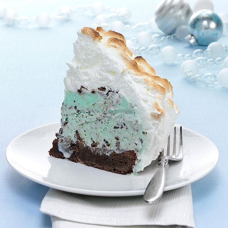 Grasshopper Baked Alaska Recipe -Can you believe it? This stunning dessert is completely make ahead, including the meringue. All you need to do is bake it for a few minutes in the oven before serving.—Taste of Home Test Kitchen, Milwaukee, Wisconsin