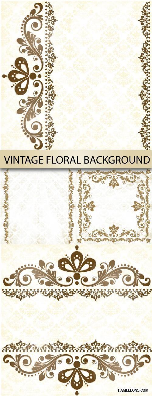 Винтажные декоративные элементы и фоны в векторе   Vintage floral background