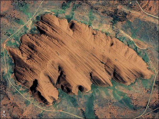 Uluru (Ayers Rock) from above.