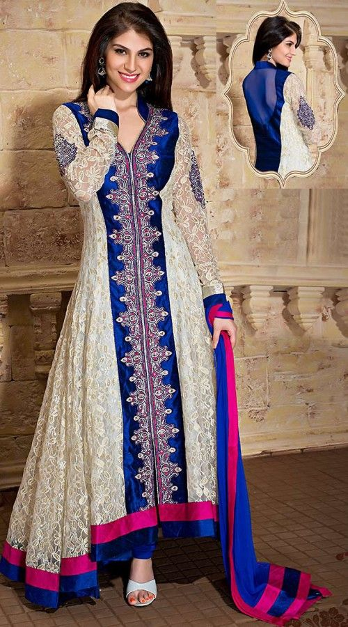 Off White Net Readymade Long Tail Anarkali Suit WV83154