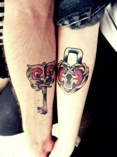 Lock Key Cute Matching Couple Tattoos - Cute Matching Couple Arm Tattoos