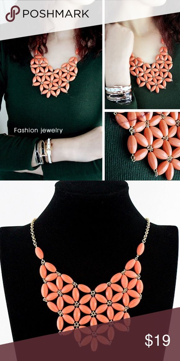 Coral statement necklace Beautiful choker coral statement necklace. Add pop to your outfits, especially with blue 🦋 Jewelry Necklaces