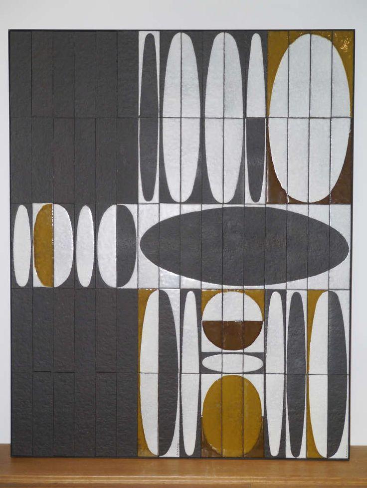 """Roger Capron - Wall Ceramic Panel - """"Ellipses"""" - Vallauris - circa 60 image 2"""