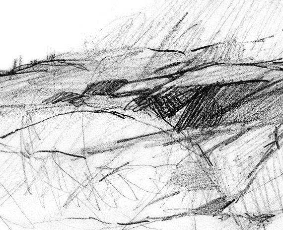 A abstract pencil drawing of an imaginary contemporary landscape. A reproduction of my original abstract sketchbook drawing .  This print