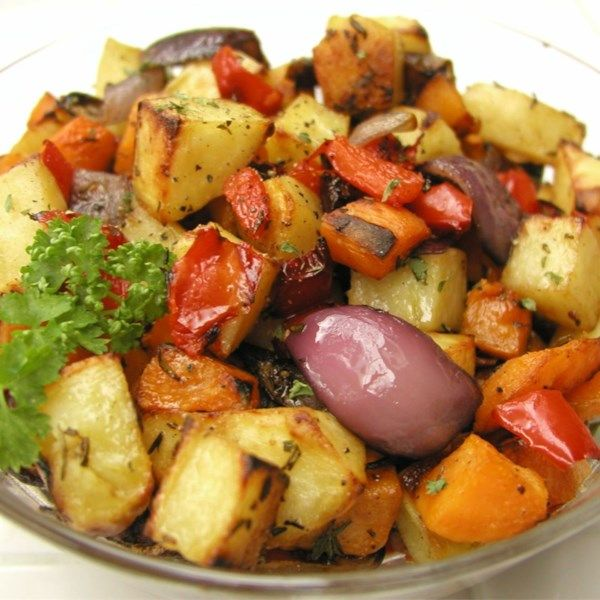 "Roasted Vegetables | ""Yum! You can use almost any kind of vege in this dish except delicate veges that will fall apart easily."" #recipe #sides #sidedish"