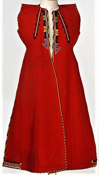 Greek woman's sleeveless overcoat, from Thrace.  First half of 20th century.  Wool, embroidered.  Part of a festive costume.  (Source: Lyceum Club of Greek women, Athens).