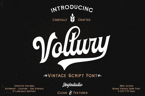 Voltury With Extras Vintage Fonts New Fonts Free Script Fonts