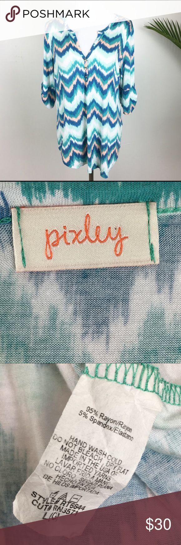 Pixley Large Woman's 3/4 Chevron Top . Pixley Tops Blouses